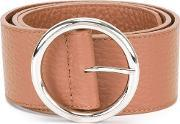 Wide Round Buckle Belt Women Leather 85, Women's, Brown