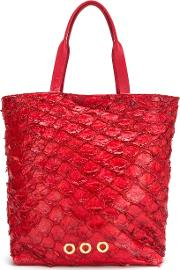 Leather Tote Bag Women Fisher One Size, Red