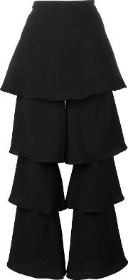 Tiered Cropped Trousers Women Polyestertriacetateviscose 8, Black
