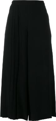Wide Legged Pleated Cropped Trousers Women Polyestertriacetate 16, Women's, Black