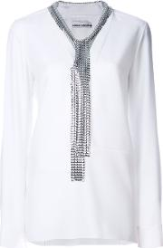 Removable Mesh Collar Blouse