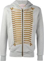 Chest Embroidery Zipped Hoody Men Cottonpolyestermetal Other S, Grey