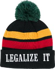 Palm Angels Striped Beanie Men Acrylicpolyester One Size