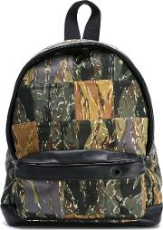 Patch Camouflage Backpack Men Cotton One Size, Green