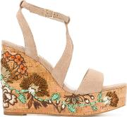 Paloma Barcelo Floral Patch Wedge Sandals