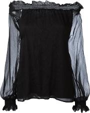 P.a.r.o.s.h. Off Shoulder Blouse Women Silkpolyester Xs, Women's, Black