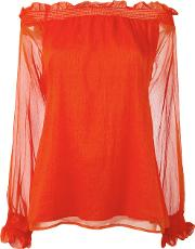 P.a.r.o.s.h. Off Shoulders Sheer Blouse Women Silkpolyester S, Women's, Red