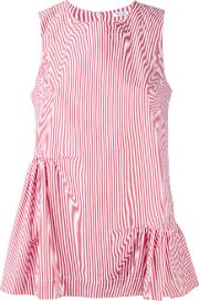 P.a.r.o.s.h. Ruched Pinstripe Blouse Women Cotton L, Red