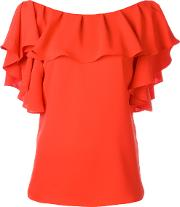 P.a.r.o.s.h. Ruffled Neck Blouse Women Polyester Xs, Red