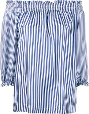 P.a.r.o.s.h. Striped Off Shoulder Blouse Women Silk Xs, Blue
