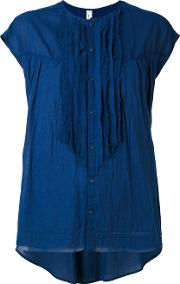Ruffled Front Blouse Women Cotton 36, Blue