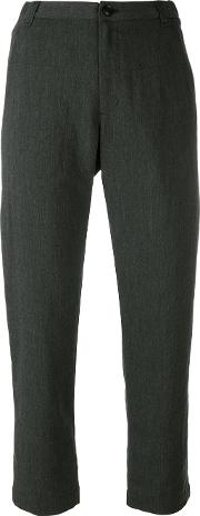 Tailored Cropped Trousers Women Polyesterrayonlinenflaxcotton 36, Grey