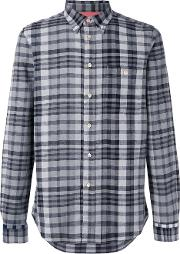 Checked Shirt Men Cottonlinenflax Xl, Black