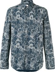 Printed Shirt Men Cotton L, Blue
