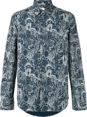 Printed Shirt Men Cotton Xl, Blue