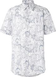 Printed Shortsleeved Shirt Men Cotton M, White