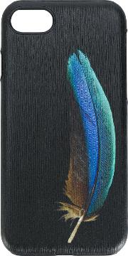 Feather Print Textured Iphone 7 Case Men Calf Leatherpolycarbonite