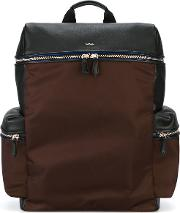 Side Pockets Structured Backpack Men Calf Leathernylonpolyacrylic One Size, Brown