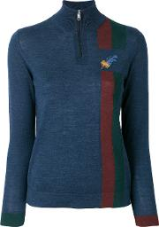 Paul Smith Embroidered Feather Zip Jumper Women Silkwool M, Blue