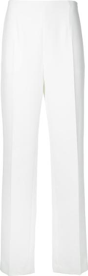 Straight Leg Woven Trousers Women Polyester 38, White