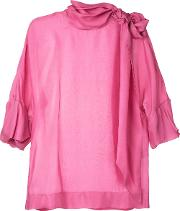 Tie Neck Woven Blouse Women Silk 42, Women's, Pinkpurple