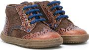 Brogue Detailing Boots Kids Leathercalf Suederubber 21, Boy's, Brown
