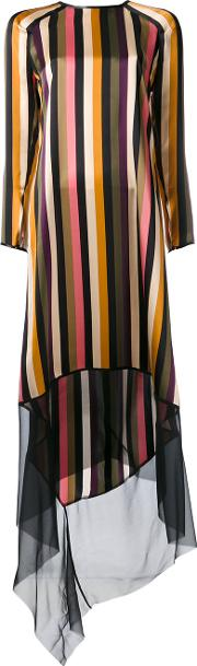 Striped Dress Women Silk 36