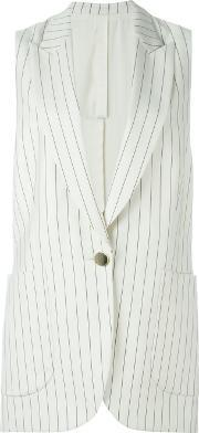 Striped Sleeveless Jacket Women Silkvirgin Wool 38, Women's, White