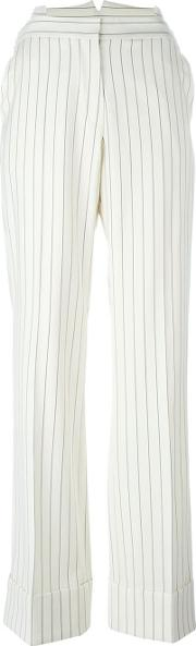 Striped Straight Trousers Women Silkvirgin Wool 40, Women's, Nudeneutrals