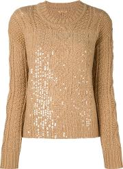 Cable Knit Sequinned Jumper Women Lambs Wool S, Brown