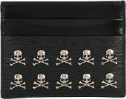 Card Holder With Skull Appliques Men Calf Leather One Size, Black