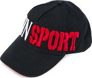 Embroidered Cap Men Cottonpolyester One Size, Black