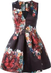 Floral And Butterfly Print Dress Women Polyamidepolyester Xs, Black