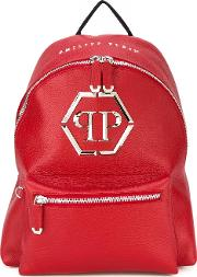 Logo Plaque Backpack Men Calf Leatherpolyestermetal Other One Size, Red