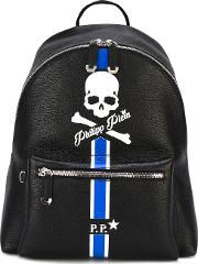 Pirate Skull And Stripe Backpack Men Calf Leather One Size, Black