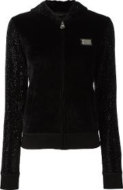 Sequin Embellished Hooded Sweater Women Cottonpolyestermodal M, Black