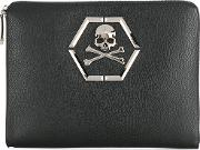 Skull Plaque Document Holder Men Calf Leather One Size Black