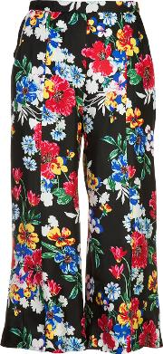 'harley' Floral Print Cropped Trousers Women Silk L, Black