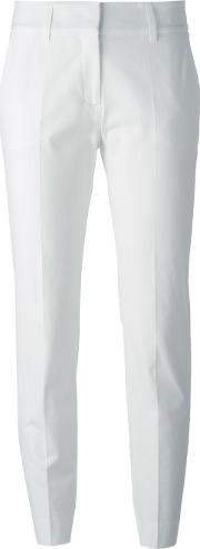 Cropped Tailored Trousers Women Cottonspandexelastaneacetatepolyester 44, White