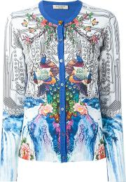 Piccione. Piccione Peacock Print Contrast Trim Button Down Cardigan Women Cotton 40, Women's, Blue