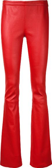 Bootcut Leather Trousers Women Lamb Skin 38, Red