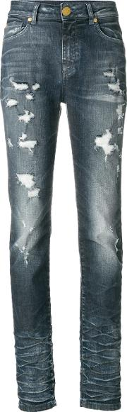 Pierre Balmain Distressed Skinny Jeans Women Cottonspandexelastane 26, Blue