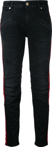 Side Stripe Skinny Jeans Women Cottonspandexelastane 27, Black
