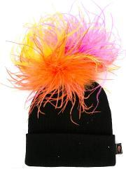 'explosion' Beanie Women Acrylicostrich Featherother Fibers One Size, Women's, Black