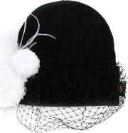 Feathered Veil Beanie Women Acrylicpolyesterwoolother Fibers One Size, Women's, Black