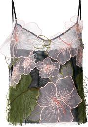 Floral Embroidered Sheer Blouse