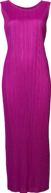 Fitted Pleated Dress Women Polyester  Pinkpurple