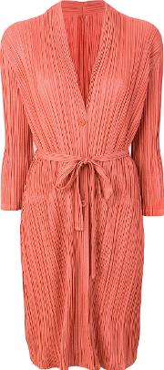 Pleated Belted Cardigan