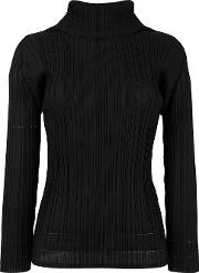 Pleated Blouse Women Polyester 3, Black