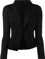 Pleated Open Front Cardigan Women Polyester 4, Women's, Black